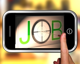 Job On smartphone Showing Target Employment