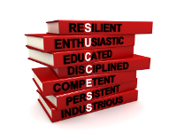 Three dimensional render of a pile of books. The titles of these books are the character traits of successful people. Concept for success.