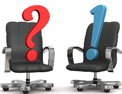 Two armchairs with question and exclamation marks. White background.