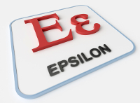 Epsilon greek symbol on white display board. Science and mathematical concept