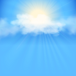 Rays of sunlight breaking through the clouds. Sky abstract vector background with white clouds and sun