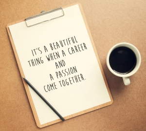 Inspirational motivating quote on clipboard and cup of coffee