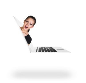 Pretty woman coming out of laptop computer