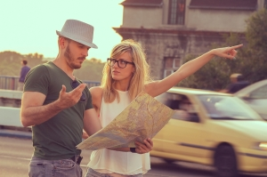 Tourists with city map