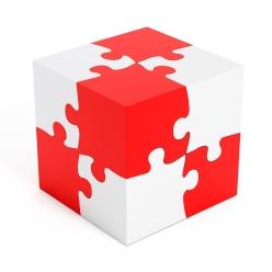 Puzzle parts forming a cube shape
