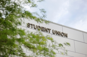Student union with sign