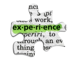 The definition of experience on a puzzle piece. It can represent that experience or work experience is often the missing piece.