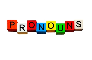 Pronouns, English language sign series for writing & teaching. Isolated.