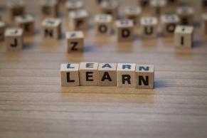Learn written in wooden cubes