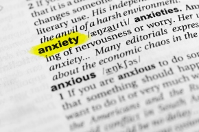 "Highlighted English word ""anxiety"" and its definition in the dictionary"