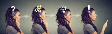 Side view sequence of a woman being thoughtful, thinking, finding a solution