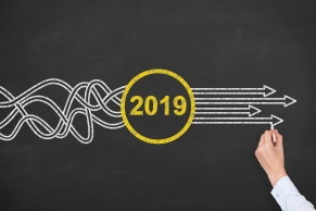 Solution Concepts New Year 2019 on Chalkboard Background