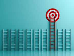 Long red ladder to goal target the business concept on blue pastel color background with shadows  3D rendering