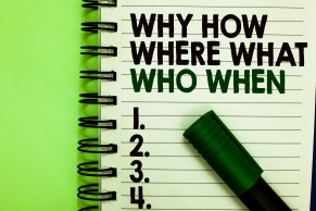 Handwriting text Why How Where What Who When. Concept meaning Questions to find solutions Query Asking Written letters and numbers on notepad laid green marker green back.