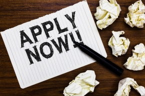 Text sign showing Apply Now. Conceptual photo Make a formal application for a job right away Take action Marker over notebook crumpled papers ripped pages several tries mistakes