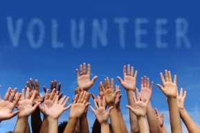 "Multiethnic hands raised under word ""volunteer"""