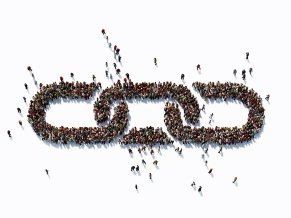 Human Crowd Forming A Chain Symbol: Bonding And Social Media Concept