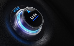 Finance And Investment Concept - Risk Labeled Button On A Car Dashboard