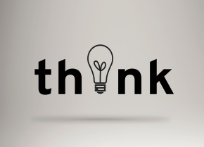 Think text banner concept . Creative text composition . Light bulb typography.