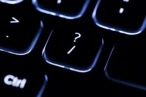 illuminated keyboard - focus on '?' key
